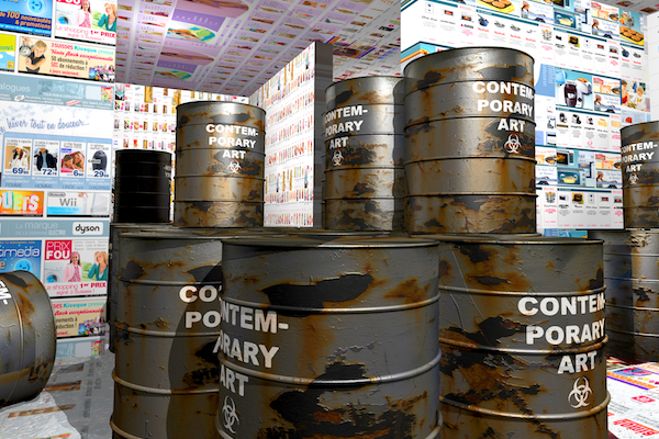 "Maurice Benayoun, ""The Dump,"" an installation artwork featuring rusted metal barrels labeled ""contemporary art"""